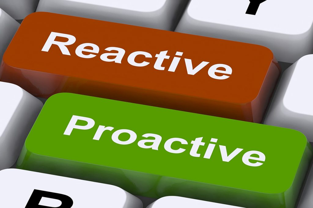 A Keyboard With Reactive Vs Proactive - Springbank Mechanical Toronto Commercial HVAC Company